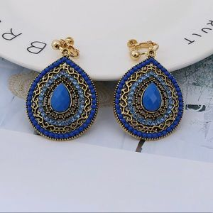 BLUE BOHEMIAN TEAR SHAPED CLIP ON EARRINGS